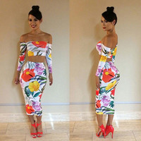 Floral Print Off Shoulder Long Sleeve Crop Top and High-Waisted Bodycon Maxi Skirt Two-Piece Dress