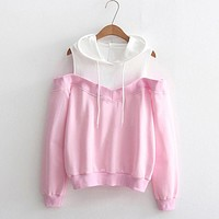 2017 Women Autumn Casual Sweatshirt Ladide Sexy Off Shoulder Long Sleeve Hoodie Patchwork Hooded Pullover Sweatshirt Tops Blouse