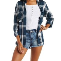 Blue Combo Button-Up Plaid Top with Pockets by Charlotte Russe