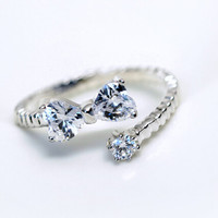 925 sterling silver Austrian crystals bowknot adjustable ring,cute butterfly,a perfect gift