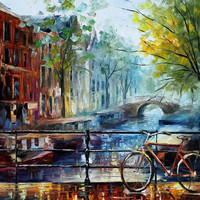 """Amsterdam — PALETTE KNIFE Oil Painting On Canvas By Leonid Afremov - Size: 30"""" x 36"""" (75 cm x 90 cm) from afremov art"""