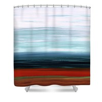 Abstract Landscape - Ruby Lake - Sharon Cummings Shower Curtain