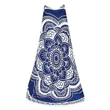Round Geometric Beach Blanket // Tapestry // Perfect for Concerts in the Park // Sarong // Blue