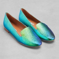 & Other Stories | Oily Leather Slippers | Green