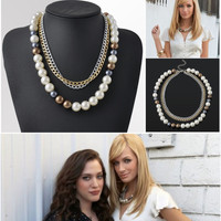 New Television 2 Broke Girls Big Pearl Multilayer Chunky Statement Choker Chain Necklaces & Pendants For Women Girls Jewelry P
