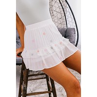 I'm Always Right Star Ruffle Skirt (White Multi)