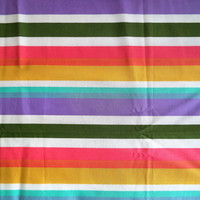 Pastel stripe fabric/ vintage rainbow pastel striped fabric/ Measures 1yd & 11""