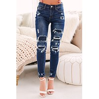 Future History Distressed Skinny Jeans (Dark Blue)