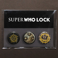 Set of 3 SuperWhoLock buttons / badges / pinbacks (1 pack) Supernatural – Doctor Who – Sherlock fandoms