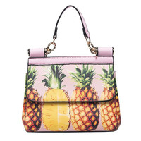 Pineapple Fruit PU Leather Purse Handbag Shoulder Bag