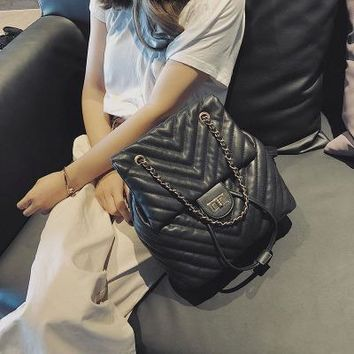 School Backpack trendy ETAILL 2018 Fashion Classic Designer Plaid Women's Backpack PU Leather Quilted Girls Casual Travel Backpack School Bags Mochila AT_54_4