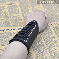 Punk Style Cross Strings Black Leather Bracer Arm Armor Cuff Gothic Cosplay Costumes & Accessories