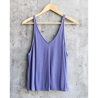 Free People - Dani Essential Ribbed Tank in Blue/Iris