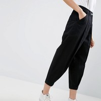ASOS WHITE Ovoid Mom Jean In Washed Black at asos.com