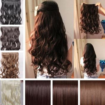 "17""-26"" Long New Women Hair Extensions Wavy Curly/Straight Synthetic Clip in on"