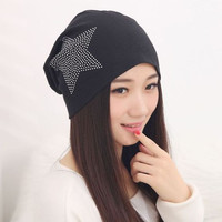 Knit Baggy Beanie Hat With Star