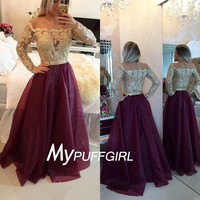 Burgundy Off The Shoudler Prom Dress ,Long Sleeves Gown With Lace Appliques