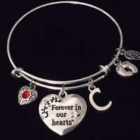 Forever in Our Hearts Expandable Silver Charm Bracelet Bangle Memorial Gift Baby Feet Angel Wing Initial Charm