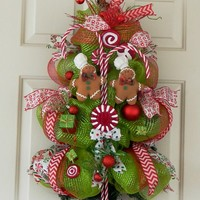 Christmas Wreath Swag for Front Door or Wall Decor, Whimsical Traditio