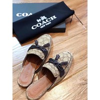 Coach Popular Summer Women's Flats Men Slipper Sandals Shoes