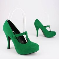 velvet finish t-strap pump $26.40 in GREEN PURPLE RED - Stunning Shoes | GoJane.com