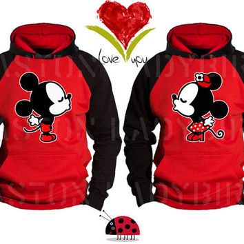 Mickey and Minnie Faces Kissing Inspired Soul Mate Couple Disney Perfect Matching Love Set Hoodie Sweatshirt Hoodie- Price For 1 Hoodie -