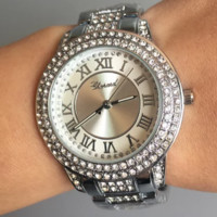 CHOPARD silver bracelet with round rhinestone dial quartz watch F0888-1