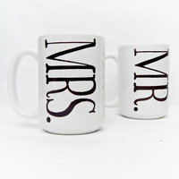Mr. and Mrs. Wedding or Anniversary Mugs