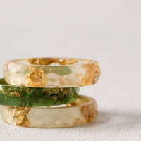 double gold size 7.5 thin multifaceted eco resin ring