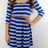 Reading Between The Lines Navy & Gray Striped Dress