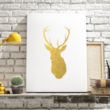 PRINTABLE ART Deer Art Print Gold Foil Deer Gold Deer Printable Art Gold and White Design Animal Art Art Print Home Decor Room Decor