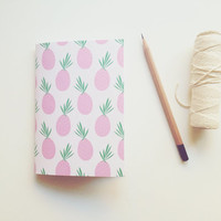 Pocket Notebook with Pineapple Print, Hand Bound Journal, Pocket Jotter