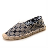 Fashion Women Men and women canvas shoes - sewing hemp shoes lazy shoes Grey