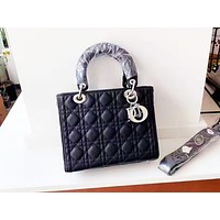 DIOR casual moire lady shopping bag is a hot seller with a shoulder bag Black