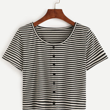 Black White Striped T-shirt With Buttons