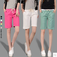 Colored Female Loose Linen Shorts