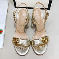 GUCCI Classic Hot Sale Women Leather High Heels Sandals Shoes Golden