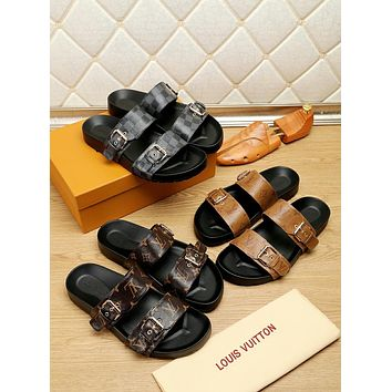 LV Louis Vuitton Men's Leather Fashion Sandals