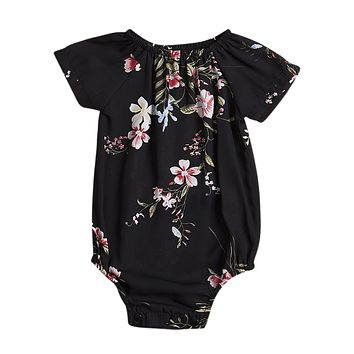 Summer born Infant Black Baby Girl Floral Romper Short Sleeve Jumpsuit Outfits Sun-suit CA
