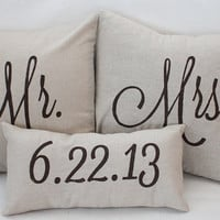Mr. & Mrs. Custom Pillow with Wedding Date