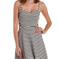 Black Combo Caged Cut-Out Striped Skater Dress by Charlotte Russe