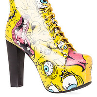 Jeffrey Campbell The Lita Crazy Eye Print in Yellow with Black Wood Heel