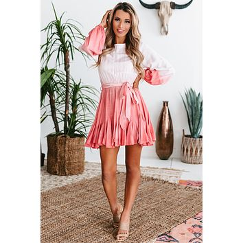 In Total Fascination Long Sleeve Ombre Mini Dress (Pink)