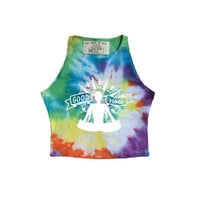 Good Vibes tie dye high neck yoga crop top