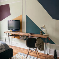 """Custom desk/media stand with mid century Hairpin legs with 1 drawer included, 72"""" l x 11.5"""" w x 30"""" h, 1.65"""" top"""