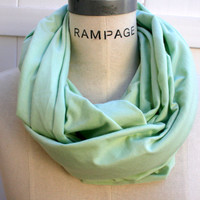 Mint Green Infinity Scarf Pastel Green Solid Color Women Scarf FREE Shipping Winter Neckwarmer   - By PiYOYO