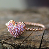 Glamorous Love Heart Ring Ruby Pink Lihgt Purple Clear Crystals Infinite Love Best Friend Jewelry Celebration Gift Idea Color Select