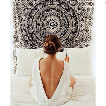 Black and White Tapestries Elephant Mandala Hippie Tapestry Indian Traditional Throw Beach Throw Wall Art