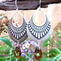 Silver tribal pendants, Bali sterling silver and crystal earrings.
