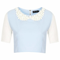 **LILAC SEQUINS COLLAR CROP TOP BY SISTER JANE